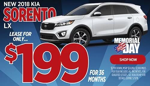 Lease A 2018 Kia Sorento For $199/mo